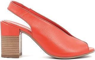 Pierfrancesco Vincenti Sandali in Pelle con Tacco Largo - Scarpe Donna Made in Italy Colore Rosso