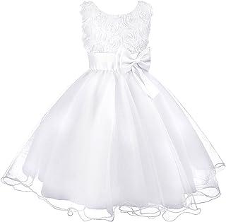 fda25e9058dd Discoball Girls Flower Dress Formal Wedding Bridesmaid Party Christening  Dress Princess Lace Dress for Kids