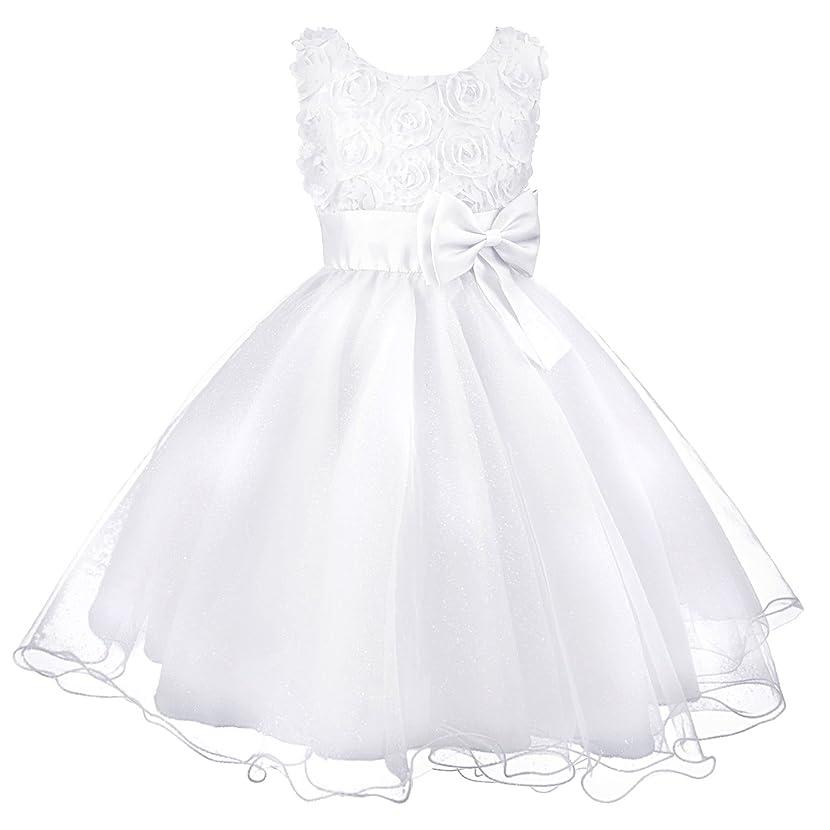 Acecharming Little Girls Tutu 3D Rose Flower Dress for Toddler Girls