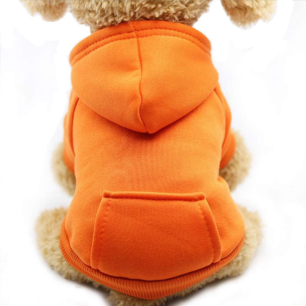 Jecikelon Winter Dog Hoodie Sweaters with Pockets Warm Dog Clothes for Small Dogs Chihuahua Coat Clothing Puppy cat Custume (Orange, Small)