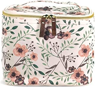 Steel Mill & Co Women's Insulated Reusable Canvas Lunch Box Soft Cooler Bag with Double Zipper Closure and Top Handle Leak Proof Liner Lightweight Tote, Woodland Floral