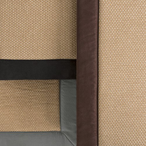 2 pc Memory Foam Bath Mat Set by Lavish Home - Faux Linen Fleece - Chocolate