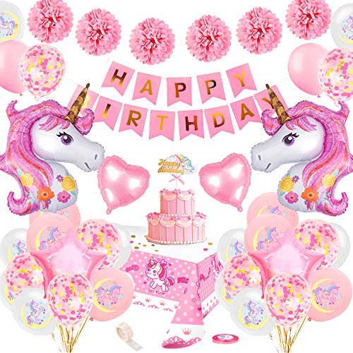 specool Unicorn Party Decorations Girls, Pink Happy Birthday Banner with 2 Huge Foil Unicorn Balloons Latex Confetti Balloons Birthday Party Supplies for Kids Boys Girls Teens