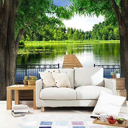 Fotobehang 3D Big Mural Sofa Tv Achtergrond Muur Natuur Scenery Lake Bridge Wallpaper Mural 200 x 140 cm.