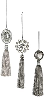 Sullivans Jeweled Hanging Tassel Christmas Ornaments, Set of 6 in 3 Styles, 1.75