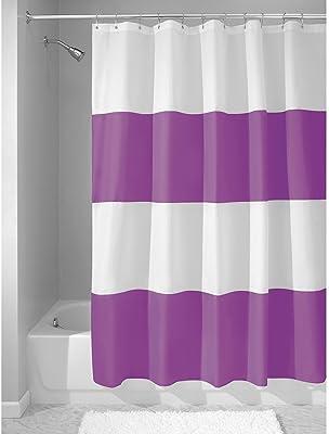 InterDesign Mildew-Free Water-Repellent Zeno Fabric Shower Curtain, 72-Inch by 72-Inch, Purple/White
