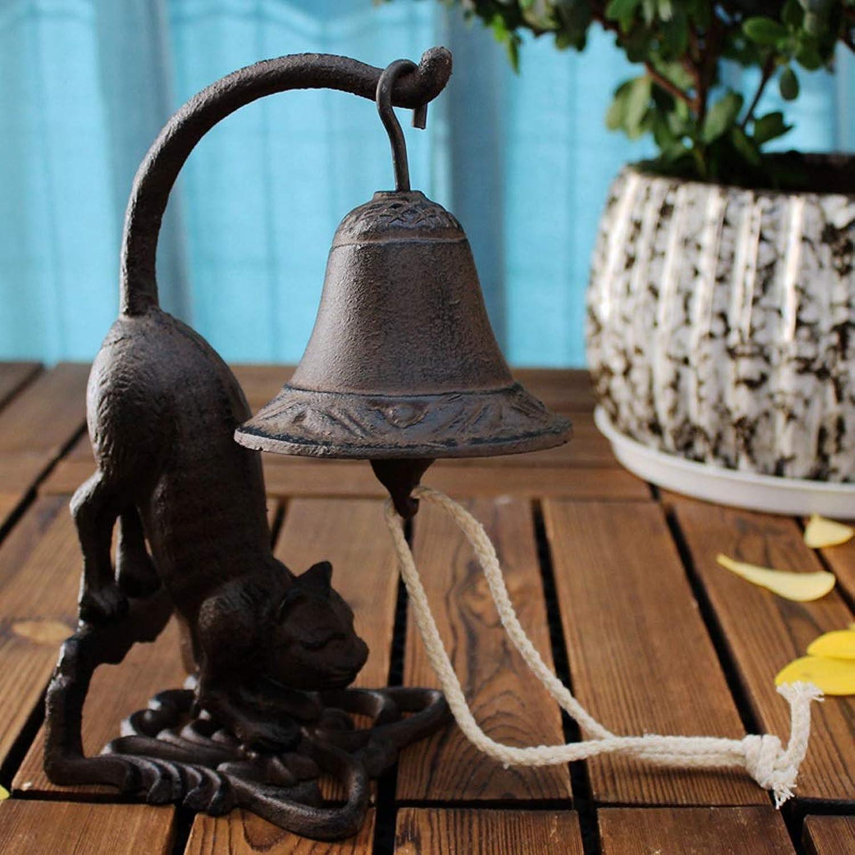 XXHDYR Chat à Longue Queue en Fonte Sonnette de Table Cloche décoration handbell Jardin Artisanat décoration de Jardin 11x11x23cm Sonnette en Fonte
