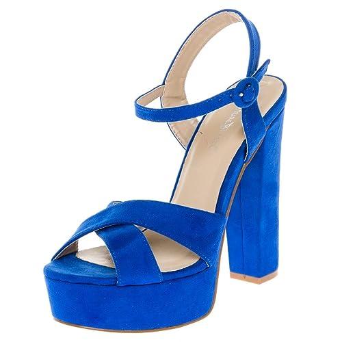 b42caf357be CALICO KIKI Women s Buckle Ankle Strap Open Toe Chunky High Heel Platform  Dress Sandals