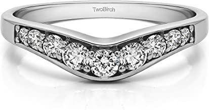 Diamonds (H,I2) Graduated Curved Wedding Band In 14k White Gold(0.43Ct) Size 3 To 15 in 1/4 Size Interval