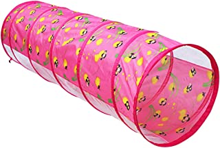 Flameer 1.5M Glowworm Tunnel Toy Play Tent Discovery Tube Adventure Hut Gift Kids Game Pink
