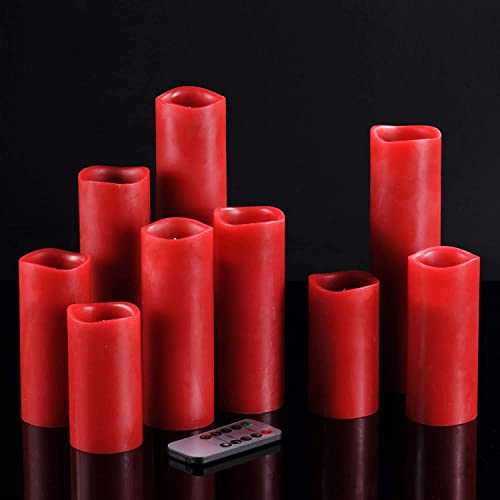 """lowest Kitch Aroma Burgundy Red Led Flickering Flameless wholesale Candles Set of 9(H 4"""" 5"""" 6"""" 7"""" 8"""" 9"""" xD 2"""") Burgundy Red Flameless Pillar online Flickering LED Candles with Remote for Home Decor outlet sale"""