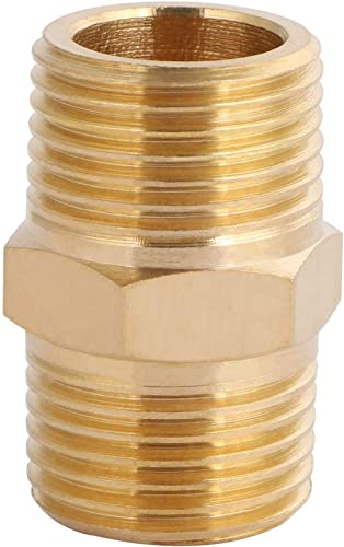 """U.S. Solid Brass Pipe Fitting, Hex Nipple, 3/8"""" x 3/8"""" NPT Male Pipe Adapter"""