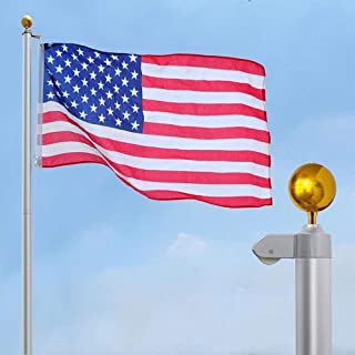 LeeMas Inc 6-Section 30' Aluminum Sectional Flagpole Flag Pole Set 15 Gauge 1.5mm Thickness w/ 3'x5' American US Flag and Ball Top Kit