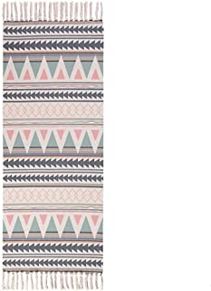Poowe Cotton Woven Tassles Area Rug - Moroccan Throw Chindic Rag Rug Runner   Beige with Black Geometric Decorative Rugs   for Entryway Indoor Bathroom Bedroom Living Room Laundry Room 2'x 6'