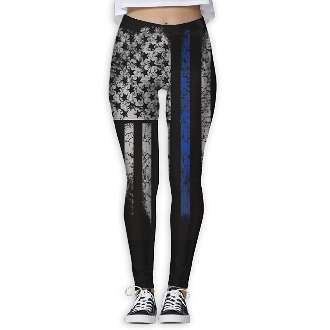 Womens Yoga Pants Athletic Stretchy Tights Elasticity Leggings Workout Pants Thin Blue Line Flag Crack