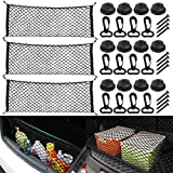 RETON 3 Pack Trunk Cargo Net with Hooks, 43.3 x 15.7 Inch Stretchable Rear Car Neat Organizer, Elastic Truck Bed Net, Universal Envelope Tailgate Net for Auto, Car, SUV, Jeep, Truck, RVs
