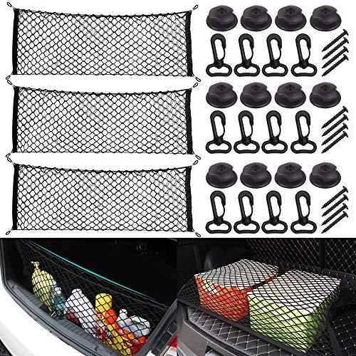 RETON 3 Pack Kofferraum-Gepäcknetz mit Haken, 43,3 x 15,7 Zoll Dehnbares Hinteres Auto-Ordnungssystem, Elastisches LKW-Ladeflächennetz, Universelles Heckklappennetz für Auto, SUV, Jeep, Wohnmobile