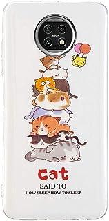جراب EnjoyCase مضيء لهاتف Xiaomi Redmi Note 9T ، تصميم القط المرح ناعم للغاية مصباح ليلي متوهج مرن من السيليكون المطاط الم...