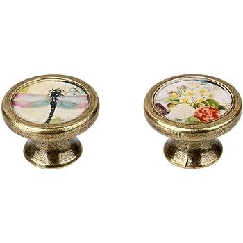 Sharplace Paire De Boutons de Meuble Vintage Poign/ée De Porte Motif Ronde Armoire Commode Antique #2