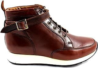 CANNERI Sneaker Alta Uomo - Marrone - 9415 - Sneaker Alta - Stivaletto - Stivaletto in Pelle con Design e Stile