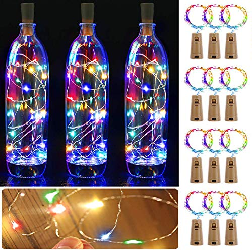 12PCS Luces de Botella de Vino luz Cobre con Corcho, Sendowtek 2m 20 LED Decorativas Luces de Hadas para Romántico Boda Festival Navidad Fiesta Hogar Exterior Jardín(varios colores)