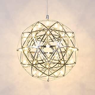 Mzithern Modern Geometric Chandelier Stainless Steel Mirror Decor Light Fixture Ceiling Weave LED Star Globe Chandelier Hanging Lighting for Dining Room Office Foyer Bedroom Warm White 3000K 16 in