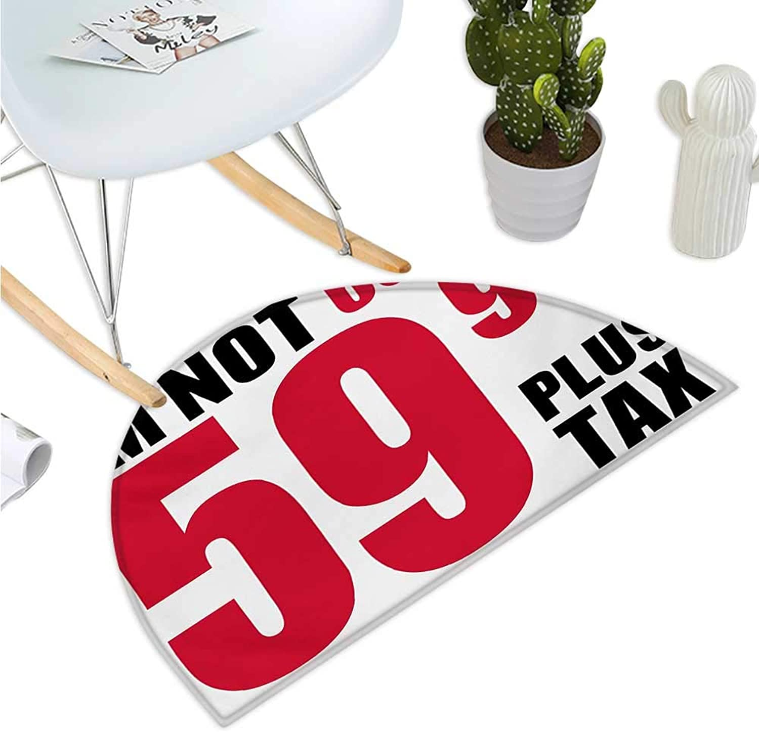 58th Birthday Semicircular Cushion Funny Humgoldus Party Theme with Birthday Quote in The Elderly Age Image Bathroom Mat H 39.3  xD 59  Red and Black