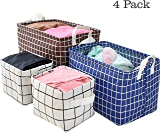 Storage Basket Bins, 4 Pack Toy Storage Organizers Collapsible Baskets Cloth Containers Organizer with Carry Handles for Linens, Towels, Toys, Drawers, Home Closet, Shelf, Nursery, Cabinet