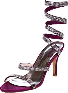 Vimedea Womens Sexy Ankle Strap Heeled Sandals Wedding Bride Open Toe Satin 9920-10