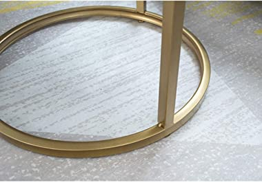 Nesting Coffee End Tables Set of 2, Sofa Side Cocktail Table Round Faux Marble Table Top with Metal Frame Legs, for Home & Living Room
