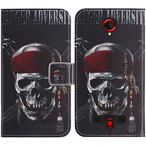 TienJueShi Totenkopf Flip Book-Style Brief Leder Tasche Schutz Hulle Handy Hülle Abdeckung Fall Wallet Cover Etui Skin Fur crosscall Trekker-X3 5 inch