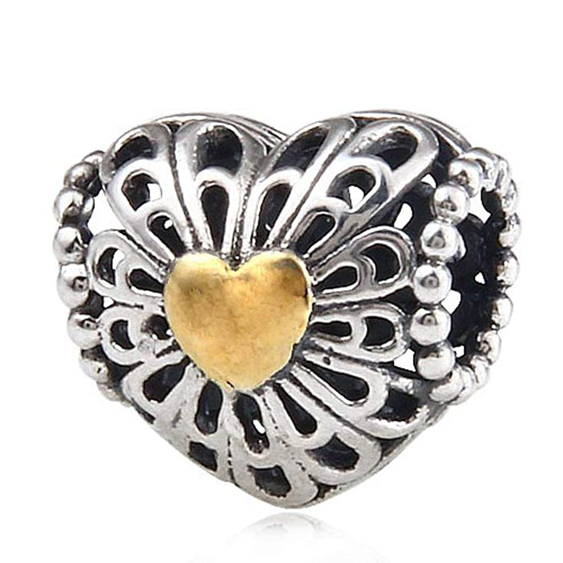 Gold Plated Heart Charms 25 Sterling Silver Beads fit for DIY Charms Bracelets