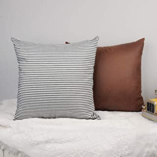 Coozzy Pack of 2, Farmhouse Decorative Throw Pillow Covers for Couch, Sofa or Bed, Rustic Stripe Throw Pillow Cases, Brown Faux Leather Cushion Covers (18 x 18 Inch, Black and White)
