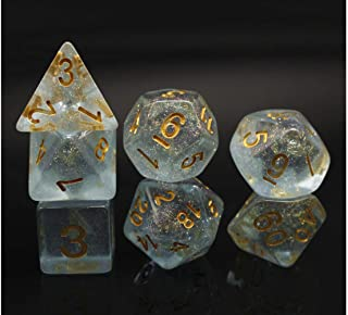 DND Dice Blue RPG Polyhedral Dice Set for D&D Dungeons and Dragons Role Playing Game 7-Die Set Transparent Dice with Glitter