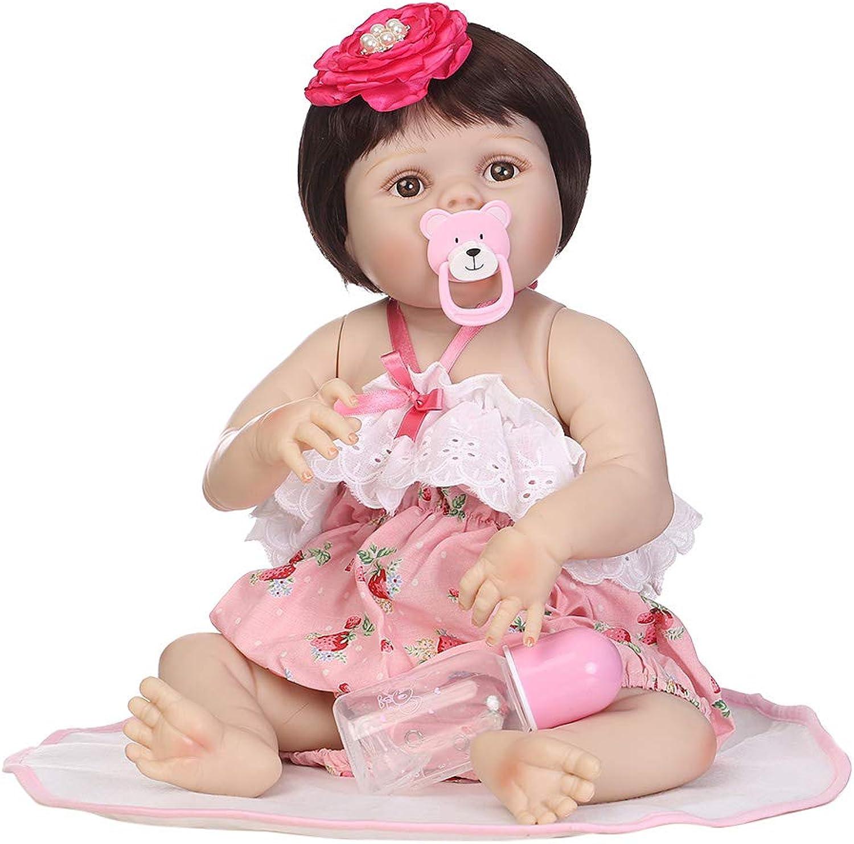 mejor servicio JAGENIE 22 Pulgadas Completa de de de Silicona recién Nacido Realista muñeca bebé Manta de Fresa Onesies Shorts Flor Pinza de Pelo de la Primera Infancia Juguete  calidad fantástica