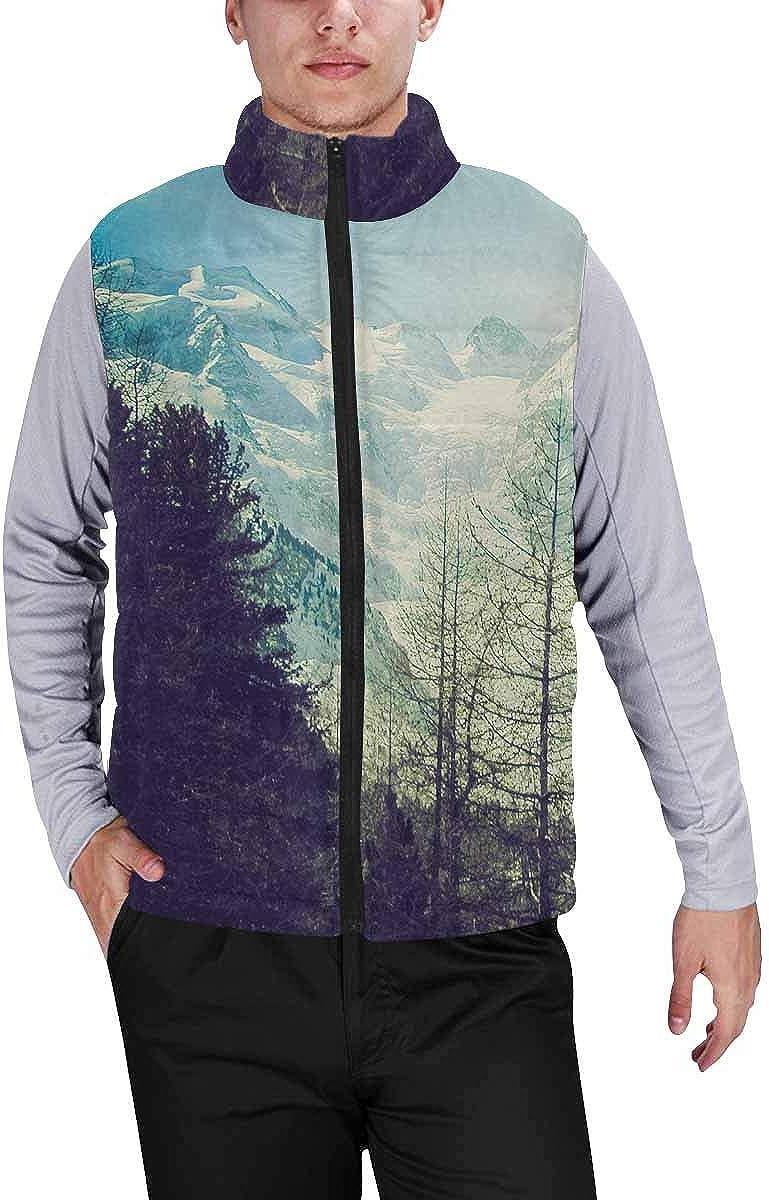InterestPrint Men's Winter Full-Zip Outwear Padded Vest Coats View of Piz Bernina Alps Mountains