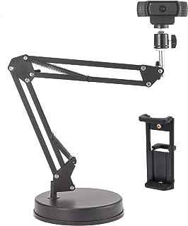 カメラスタンド 調整可能 カメラ アーム なテーブルトップ56cmサスペンションブームシザーアームスタンド、カメラ/ウェブカメラ/リングライト/電話/タブレット用ベース付きスマホ 三脚、LogicoolウェブカメラC925e C922x C92...