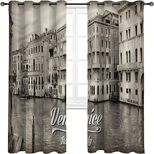 Cortinas opacas UNOSEKS LANZON Venecia, diseño de fachada, ahorro de energía, bonitas, suaves, poliéster y mezcla de poliéster, Multi 08, W305 cm x L214 cm