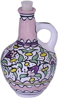 Hebron Arts Ceramic Decanter with Cork Stopper   Olive Oil and Vinegar Cruet   Palestinian Ceramic Floral Pitcher   24 OZ...
