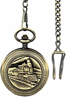 Retro Pocket Watch for Men Full Hunter Train Steampunk Skeleton Mechanical Movement with Chain + Gift Box