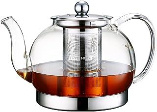 TOYO HOFU Tetera a prueba de calor del vidrio de Borosilicate del vidrio claro alto con el infuser, olla de la olla de la cocina de inducción, 800ml (1200)