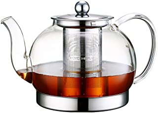 Toyo Hofu Clear High Borosilicate Glass Teapot with Removable 304 Stainless Steel Infuser, Large Heat Resistant Loose Leaf Tea Pot ,Stovetop Safe(1200ml/40oz)