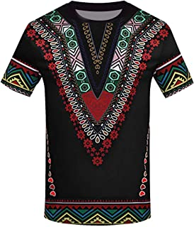 Winsummer Mens African Print T-Shirt Dashiki Tops Tribal Short Sleeve Casual Tees Summer Graphic Tshirts