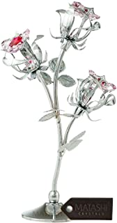 Matashi Chrome Plated Silver Rose Flower Tabletop Ornament with Red & Pink Crystals Metal Floral Arrangement Decorative Office Home Decor Elegant Petal Craftsmanship