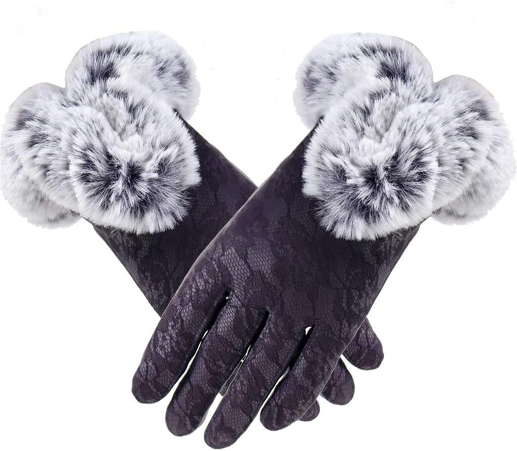 Evangelia.YM Women Plus Velvet Thicken Gloves Rex Rabbit Plush Elastic Cuff Cold Weather Touchscreen Gloves with Warm Lining Anti-Slip Grip Gloves for Outdoor Sports Cycling Riding (Purple)