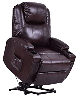 Giantex Electric Power Lift Recliner Chair for Elderly, Padded Seat with Remote Control for Gentle Motor & Cup Holder Living Room Chair,Brown
