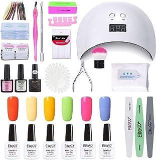 Elite99 Lámpara UV LED para Uñas 24w, 6 Colores Kit de Esmaltes Semipermanentes en Gel UV LED, Base y Top Coat, Semipermanentes, Removedor de Uñas y Accesorios 004
