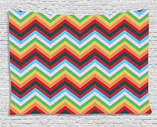 ABAKUHAUS Vistoso Tapiz de Pared, Zigzag Sharp Vibrante, para el Dormitorio Apto Lavadora y Secadora Estampado Digital, 150 x 100 cm, Multicolor