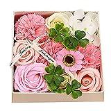 Rosen Geschenkbox,Künstliche Rosenseifenblume Geschenkbox,Künstliche Rose Damen Blumengeschenk für Valentinstag,Muttertag,Lehrertag, Hochzeit,Jubiläum Pink