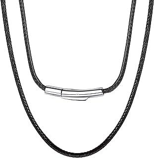 ChainsPro Cordino per collana in pelle, corda cerata intrecciata 2 / 3mm, catena di ricambio per ciondolo,16''-30''(nero/m...